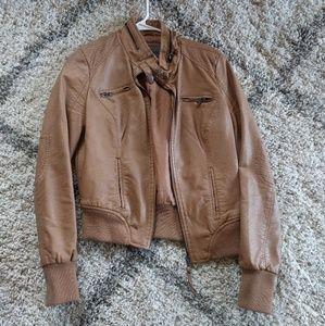Tan, faux leather jacket